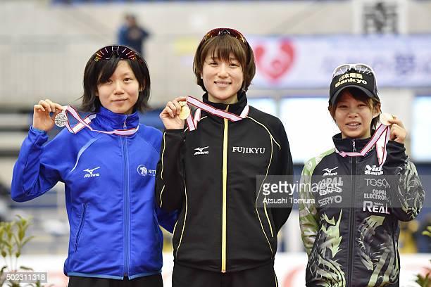 Miho Takagi Ayaka Kikuchi and Nana Takagi of Japan pose with medals after the Women's 1500m during the 83rd All Japan Speed Skating Championships at...