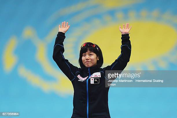 Miho Takagi of Japan celebrates in the Ladies 1000m medal ceremony during day two of ISU World Cup Speed Skating at Alau Ice Palace on on December 3...