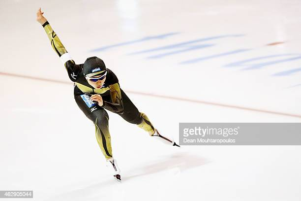 Miho Takagi of Japan competes in the 1000m Ladies Division B race during day 1 of the ISU World Cup Speed Skating held at Thialf Ice Arena on...