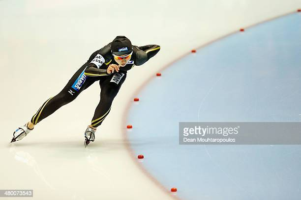Miho Takagi of Japan competes in the 500m Ladies Race during day one of the Essent ISU World Allround Speed Skating Championships at the Thialf...