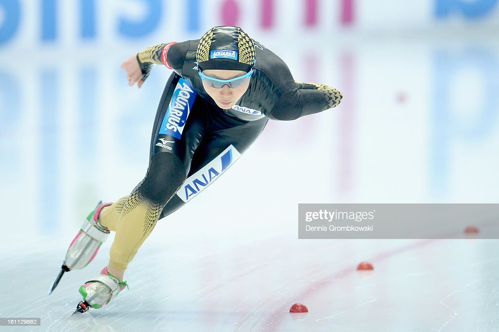 <a gi-track='captionPersonalityLinkClicked' href=/galleries/search?phrase=Miho+Takagi+-+Speed+Skater&family=editorial&specificpeople=3098803 ng-click='$event.stopPropagation()'>Miho Takagi</a> of Japan competes in the Ladies 1500m Division A race during day one of the ISU Speed Skating World Cup at Max Eicher Arena on February 9, 2013 in Inzell, Germany.