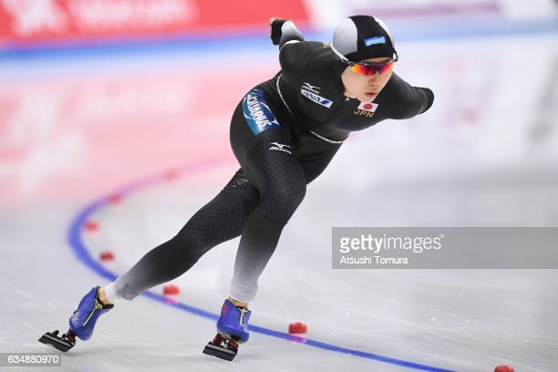 Miho Takagi of Japan competes in the ladies 1500m during the ISU World Single Distances Speed Skating Championships Gangneung Test Event For...