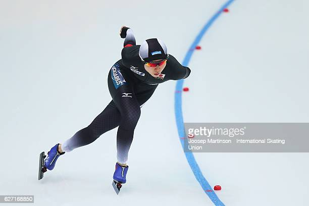 Miho Takagi of Japan competes in the Ladies 3000m during ISU World Cup Speed Skating at Alau Ice Palace on December 2 2016 in Astana Kazakhstan