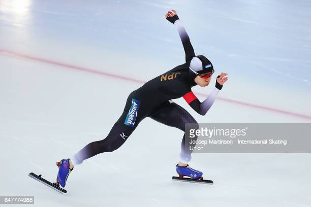 Miho Takagi of Japan competes in the Ladies 500m during World Allround Speed Skating Championships at Viking Skipet Hamar Olympic Hall on March 4...