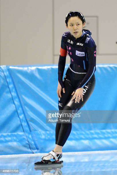 Miho Takagi of Japan competes in the women's 1000m during Japan Speed Skating Olympic Qualifying Championships at M Wave on December 29 2013 in...