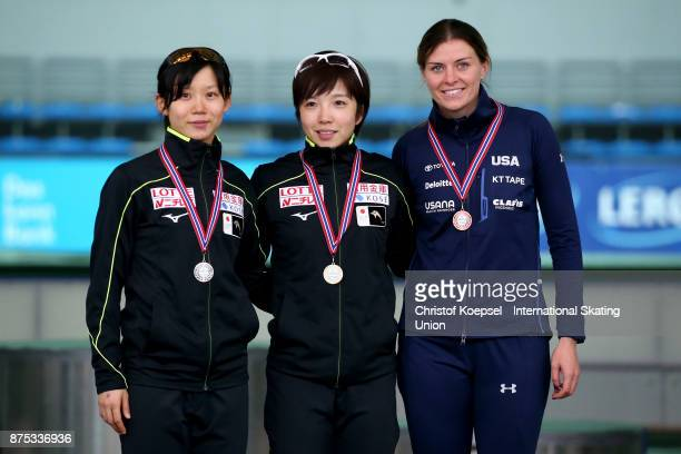 Miho Takagi of Japan poses during the medal ceremony after winning the 2nd place Nao Kodaira of Japan poses during the medal ceremony after winning...