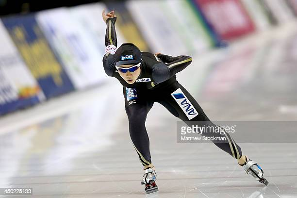 Miho Takagi of Japan skates in the ladies B 1000 meter during the Essent ISU Long Track World Cup at the Utah Olympic Oval on November 17 2013 in...