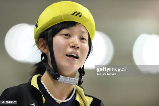 Miho Takagi of Japan smiles after winning the speed skating ladies mass start on the day six of the 2017 Sapporo Asian Winter Games at Obihiro forest...