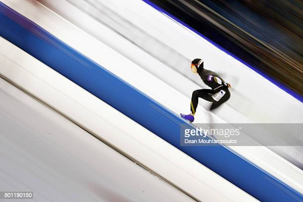 MihoTakagi of Japan competes in the 1500m Ladies race during day three of the ISU World Cup Speed Skating held at Thialf Ice Arena on December 13...