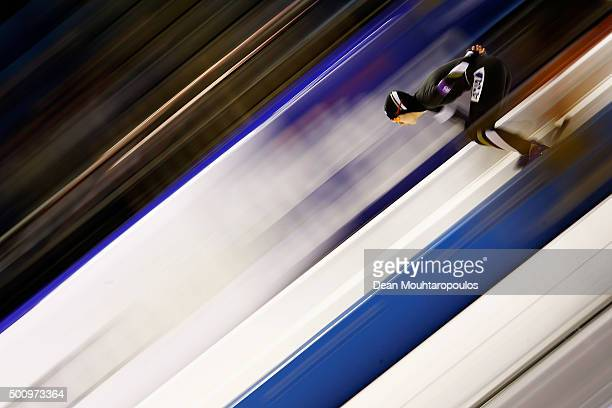 MihoTakagi of Japan competes in the 3000m Ladies race during day 1 of the ISU World Cup Speed Skating held at Thialf Ice Arena on December 11 2015...