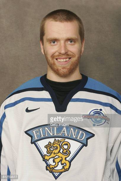 Miikka Kiprusoff of Team Finland poses for a portrait during camp at the Sports Institute Vierummaki Finland on August 20 2004