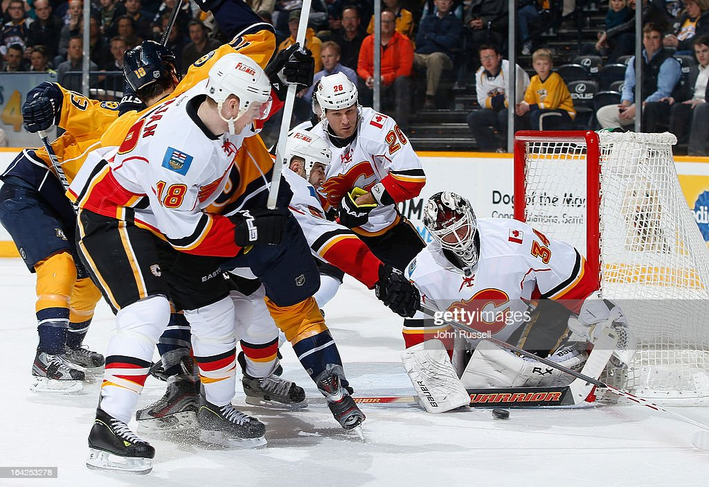 <a gi-track='captionPersonalityLinkClicked' href=/galleries/search?phrase=Miikka+Kiprusoff&family=editorial&specificpeople=171703 ng-click='$event.stopPropagation()'>Miikka Kiprusoff</a> #34 of the Calgary Flames blocks a shot against the Nashville Predators during an NHL game at the Bridgestone Arena on March 21, 2013 in Nashville, Tennessee.