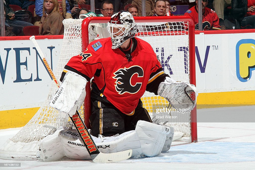 <a gi-track='captionPersonalityLinkClicked' href=/galleries/search?phrase=Miikka+Kiprusoff&family=editorial&specificpeople=171703 ng-click='$event.stopPropagation()'>Miikka Kiprusoff</a> #34 of the Calgary Flames skates in net against the Detroit Red Wings on April 17, 2013 at the Scotiabank Saddledome in Calgary, Alberta, Canada. The Flames won 3-2.