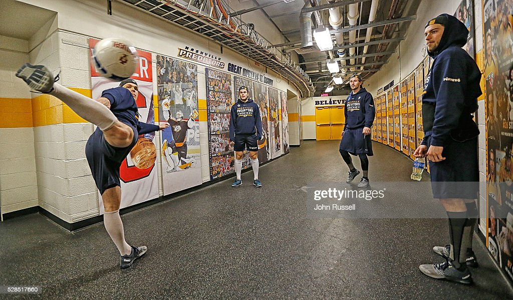 Miikka Salomaki, left, of the Nashville Predators plays soccer with Calle Jarnkrok, right, Filip Forsberg and Pontus Aberg prior to Game Four of the Western Conference Second Round against the San Jose Sharks during the 2016 NHL Stanley Cup Playoffs at Bridgestone Arena on May 5, 2016 in Nashville, Tennessee.
