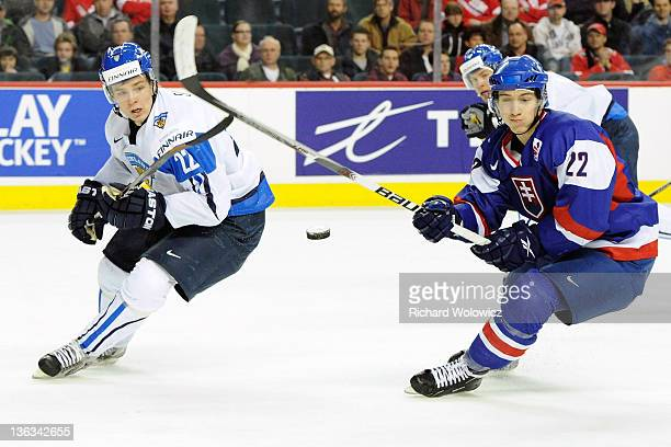 Miikka Salomaki of Team Finland passes the puck in front of Milos Bubela of Team Slovakia during the 2012 World Junior Hockey Championship...