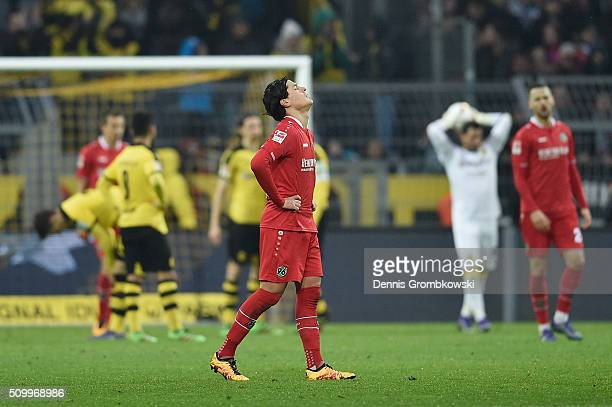 Miiko Albornoz Inola of Hannover 96 reacts after the Bundesliga match between Borussia Dortmund and Hannover 96 at Signal Iduna Park on February 13...