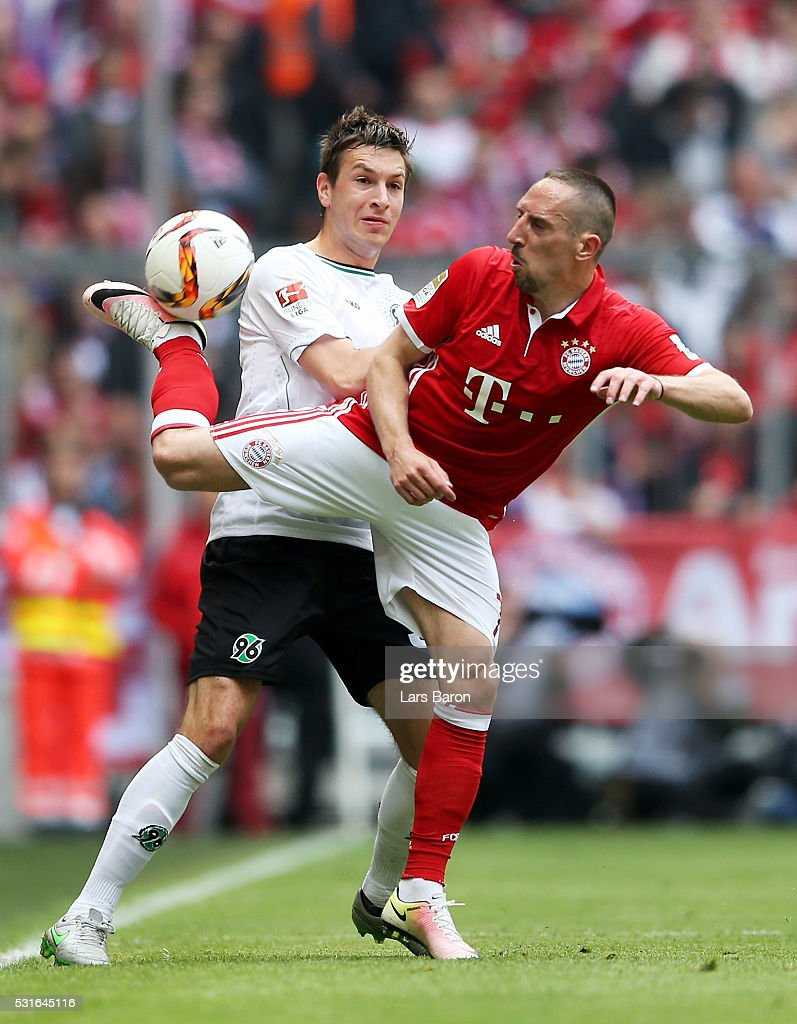 Miiko Albornoz of Hannover challenges Franck Ribery of Muenchen during the Bundesliga after the Bundesliga match between FC Bayern Muenchen and Hannover 96 at Allianz Arena on May 14, 2016 in Munich, Germany.