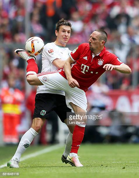 Miiko Albornoz of Hannover challenges Franck Ribery of Muenchen during the Bundesliga after the Bundesliga match between FC Bayern Muenchen and...