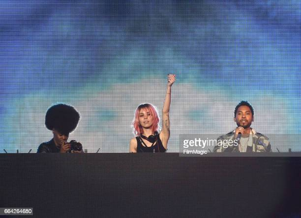 Mija and Miguel perform onstage at WELCOME Fundraising Concert Benefiting The ACLU presented by Zedd at Staples Center on April 3 2017 in Los Angeles...