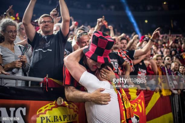 Mijajlo Marsenic of Vardar reacts with the fans after winning the VELUX EHF FINAL4 Final match between Paris SaintGermain Handball and HC Vardar at...