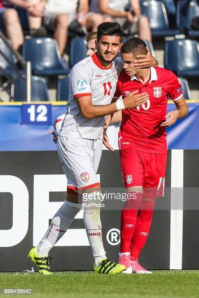 Mijat Gacinovic Daniel Avramovski during the UEFA European Under21 Championship Group C match between Czech Republic and Italy at Tychy Stadium on...