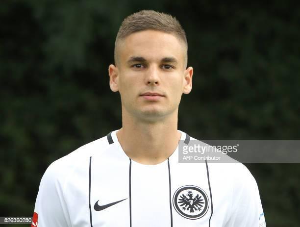 Mijat Gacinovic from German first division Bundesliga football team Eintracht Frankfurt poses for a photo in Frankfurt Germany on August 4 2017 / AFP...