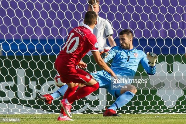 Mijat Gacinovic gol bramka goal Igor Aleksovski during the UEFA European Under21 Championship Group C match between Czech Republic and Italy at Tychy...