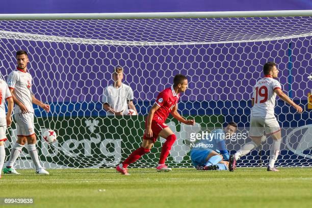 Mijat Gacinovic gol bramka radosc goal celebration Igor Aleksovski during the UEFA European Under21 Championship Group C match between Czech Republic...