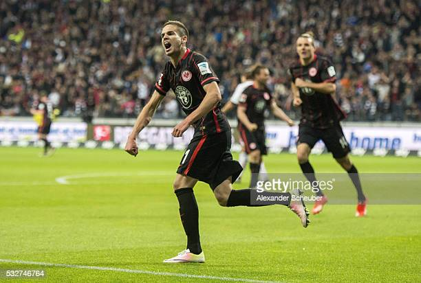 Mijat Gacinovic of Eintracht Frankfurt celebrates the first goal for his team during the bundesliga playoff between Eintracht Frankfurt and 1 FC...