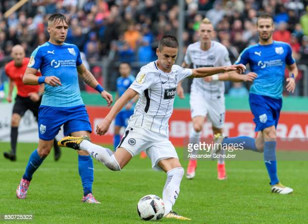 Mijat Gacinovic of Eintracht Frankfurt scores the second goal for his team during the DFB Cup match between TuS Erndtebrueck and Eintracht Frankfurt...