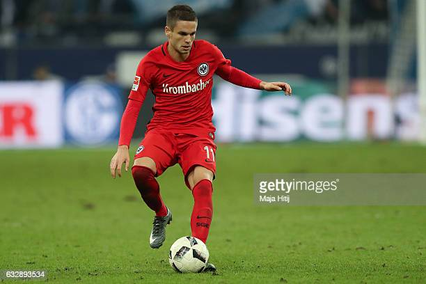Mijat Gacinovic of Frankfurt controls the ball during the Bundesliga match between FC Schalke 04 and Eintracht Frankfurt at VeltinsArena on January...