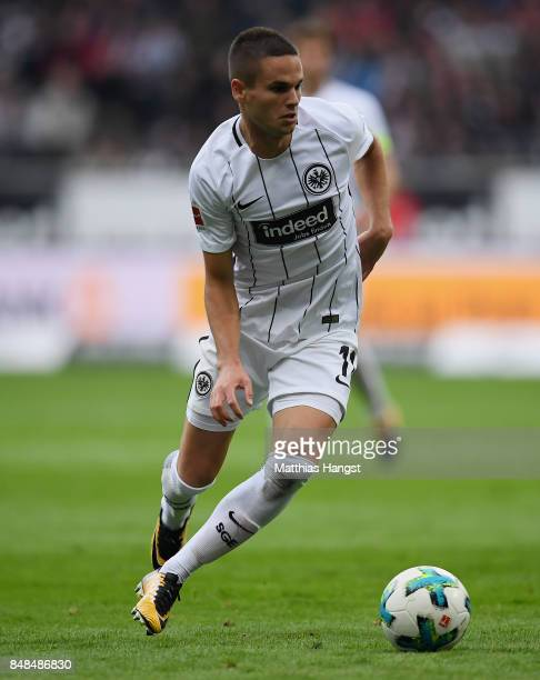 Mijat Gacinovic of Frankfurt controls the ball during the Bundesliga match between Eintracht Frankfurt and FC Augsburg at CommerzbankArena on...