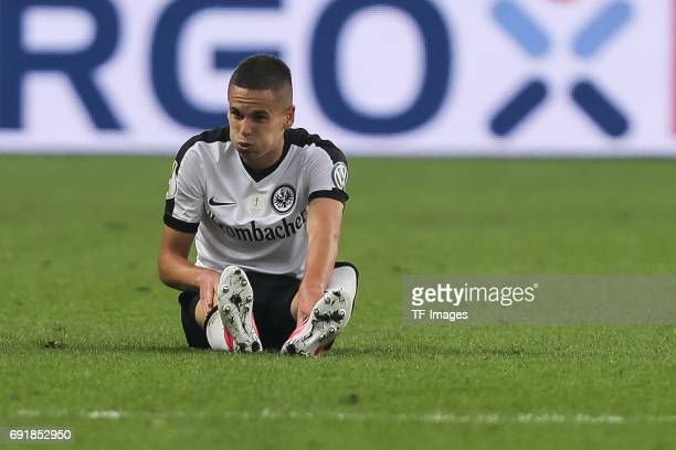 Mijat Gacinovic of Frankfurt on the ground during the DFB Cup final match between Eintracht Frankfurt and Borussia Dortmund at Olympiastadion on May...