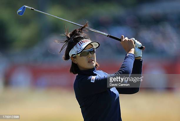 MiJeong Jeon of Korea hits her 2nd shot on the 2nd hole during the second round of the Ricoh Women's British Open at the Old Course St Andrews on...