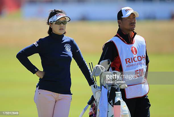 MiJeong Jeon of Korea looks on during the second round of the Ricoh Women's British Open at the Old Course St Andrews on August 2 2013 in St Andrews...