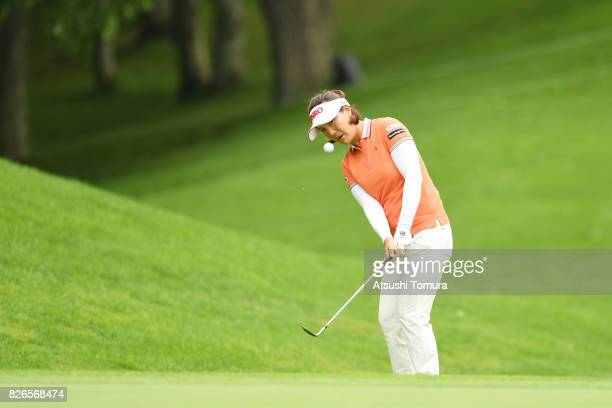 MiJeong Jeon of South Korea chips onto the 3rd green during the second round of the meiji Cup 2017 at the Sapporo Kokusai Country Club Shimamatsu...