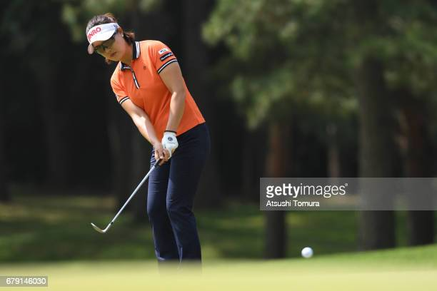 MiJeong Jeon of South Korea chips onto the 4th green during the second round of the World Ladies Championship Salonpas Cup at the Ibaraki Golf Club...