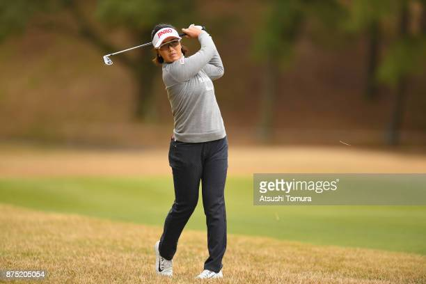 MiJeong Jeon of South Korea hits her second shot on the 18th hole during the second round of the Daio Paper Elleair Ladies Open 2017 at the Elleair...