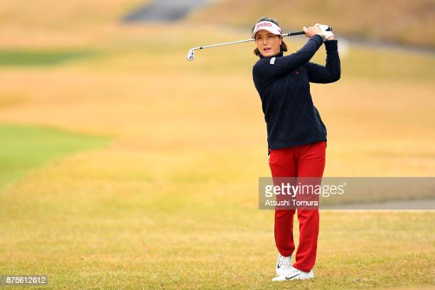 MiJeong Jeon of South Korea hits her second shot on the 18th hole during the third round of the Daio Paper Elleair Ladies Open 2017 at the Elleair...