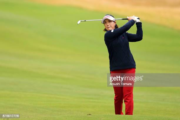 MiJeong Jeon of South Korea hits her second shot on the 7th hole during the third round of the Daio Paper Elleair Ladies Open 2017 at the Elleair...