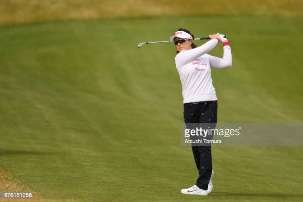 MiJeong Jeon of South Korea hits her second shot on the 7th hole during the final round of the Daio Paper Elleair Ladies Open 2017 at the Elleair...
