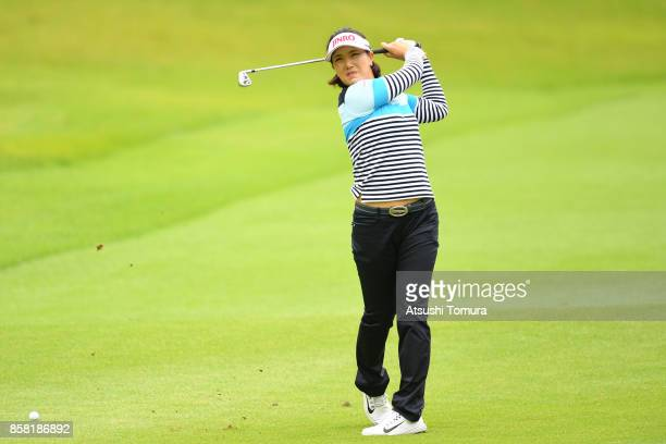 MiJeong Jeon of South Korea hits her second shot on the 8th hole during the first round of Stanley Ladies Golf Tournament at the Tomei Country Club...
