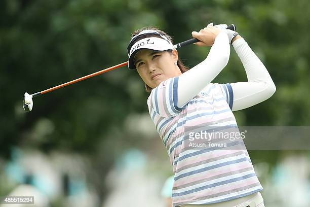 MiJeong Jeon of South Korea hits her tee shot on the 10th hole during the first round of the Nitori Ladies 2015 at the Otaru Country Club on August...
