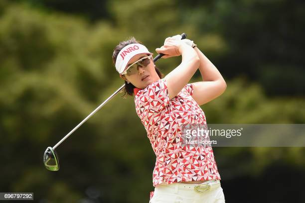 MiJeong Jeon of South Korea hits her tee shot on the 12th hole during the second round of the Nichirei Ladies at the on June 17 2017 in Chiba Japan