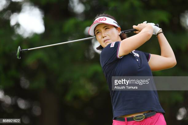 MiJeong Jeon of South Korea hits her tee shot on the 15th hole during the final round of Stanley Ladies Golf Tournament at the Tomei Country Club on...