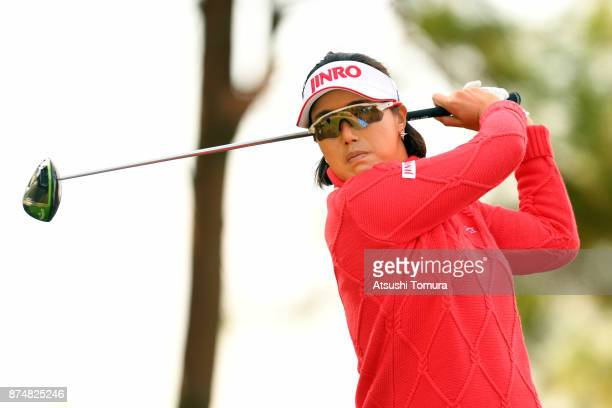 MiJeong Jeon of South Korea hits her tee shot on the 15th hole during the first round of the Daio Paper Elleair Ladies Open 2017 at the Elleair Golf...