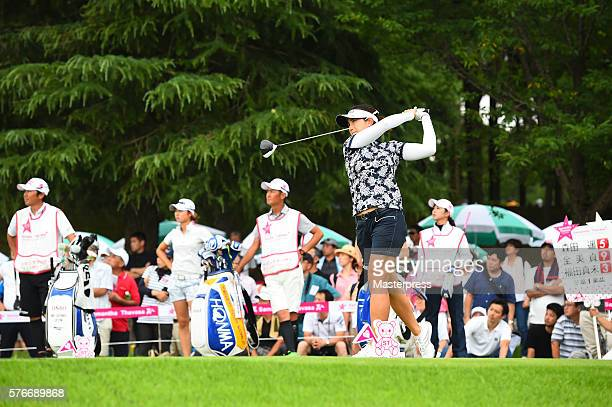 MiJeong Jeon of South Korea hits her tee shot on the 17th hole during the Samantha Thavasa Girls Collection Ladies Tournament 2016 at the Eagle Point...