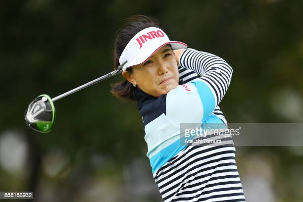 MiJeong Jeon of South Korea hits her tee shot on the 17th hole during the first round of Stanley Ladies Golf Tournament at the Tomei Country Club on...