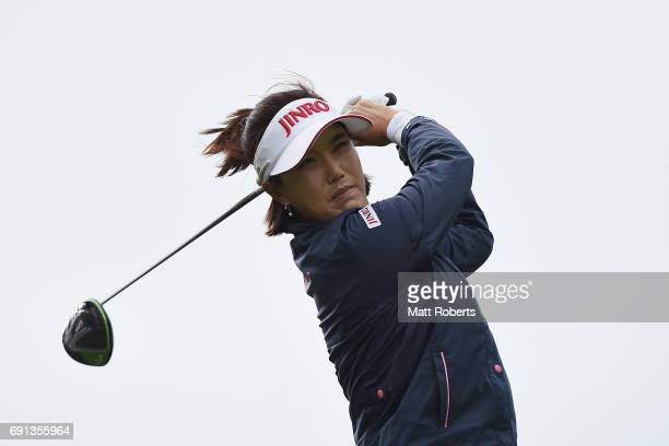 MiJeong Jeon of South Korea hits her tee shot on the 1st hole during the first round of the Yonex Ladies Golf Tournament 2016 at the Yonex Country...