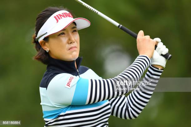 MiJeong Jeon of South Korea hits her tee shot on the 1st hole during the first round of Stanley Ladies Golf Tournament at the Tomei Country Club on...